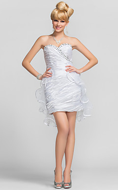 Sheath/Column Sweetheart Short/Mini Charmeuse And Tulle Cocktail Dress