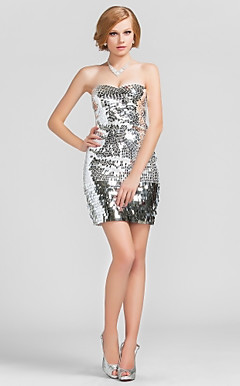 Sheath/Column Sweetheart Short/Mini Sequined Cocktail Dress