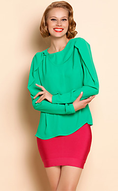TS Asymmetric Collar Leg Of Mutton Sleeve Blouse