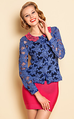 Contraste TS Encaje Color Blusa Camisa