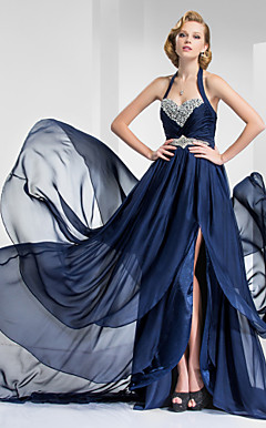 A-line Halter Court Train Satin And Chiffon Evening Dress