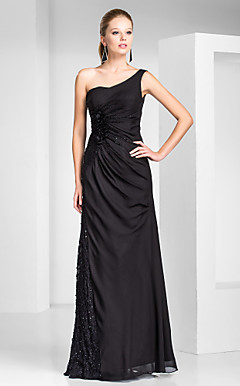 Sheath/Column One Shoulder Floor-length Chiffon And Lace Evening Dress