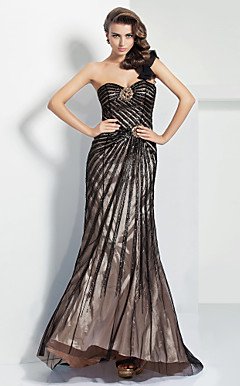 Sheath/Column One Shoulder Sweetheart Floor-length Satin And Tulle Evening Dress