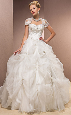 Ball Gown Sweetheart Satin And Tulle Floor-length Wedding Dress