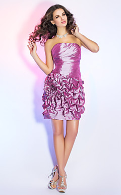 Sheath/Column Strapless Short/Mini Taffeta Cocktail Dress