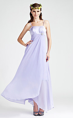 Sheath/Column Spaghetti Straps  Empire  Floor-length  Chiffon Bridesmaid Dress