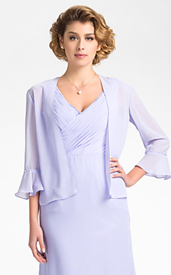 3/4 Bell Sleeve Chiffon Evening/Wedding Wrap/Jacket (More Colors)