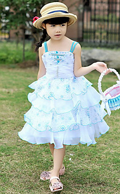 Dejlig rmels Polyester bryllup / Evening Flower Girl Dress