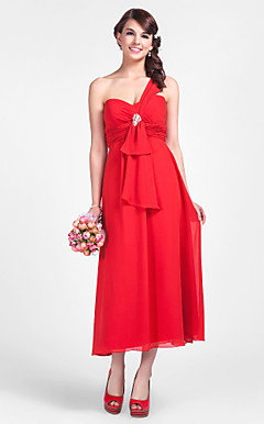 Sheath/Column One Shoulder Tea-length Chiffon Bridesmaid Dress