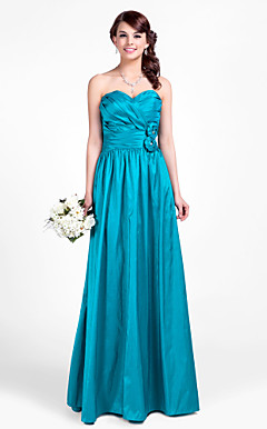 A-line Sweetheart Floor-length Taffeta Bridesmaid Dress