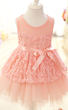 Lovely Sleeveless Cotton/Tulle Wedding/Evening Flower Girl Dress