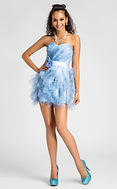 A-line Sweetheart Short/Mini Organza Cocktail Dress