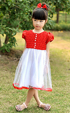 Lovely Short Puff Sleeve Polyester/Tulle Wedding/Evening Flower Girl Dress