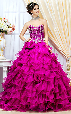 Ball Gown Sweetheart Floor-length Organza And Knitwear Prom Dress