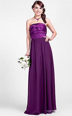 Sheath/Column Strapless Floor-length Chiffon And Satin Bridesmaid Dress