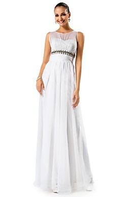 A-line/Princess Jewel Floor-length Chiffon Evening Dress