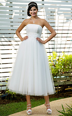 A-line Strapless Tea-length Tulle Wedding Dress