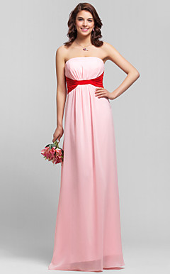 Sheath/Column Straps Floor-length Chiffon Bridesmaid Dress with Removale Straps