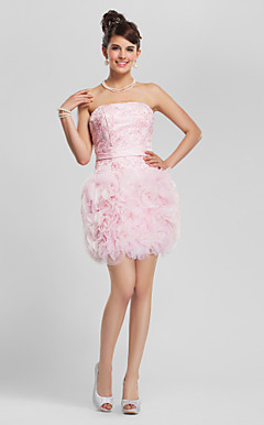 Sheath/Column Strapless Short/Mini Lace Organza Cocktail Dress