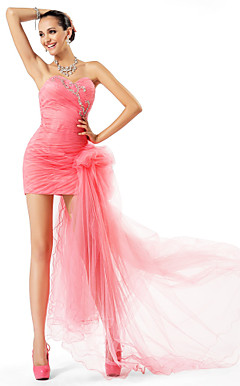 Sheath/Column Sweetheart Short/Mini Tulle Evening Dress
