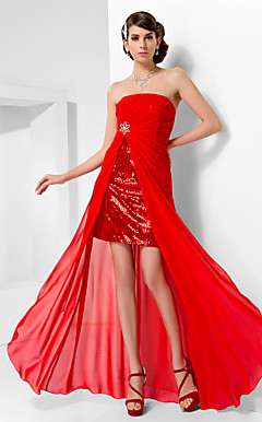 Sheath/Column Strapless Floor-length Chiffon And Sequined Evening Dress