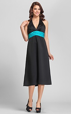 A-line Halter Tea-length Satin Bridesmaid Dress