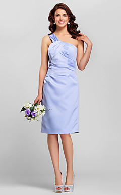 Sheath/Column One Shoulder Knee-length Satin Bridesmaid Dress
