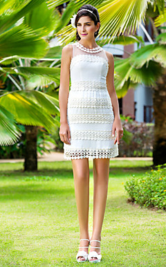 Sheath/Column Jewel Short/Mini Chiffon And Chiffon Wedding Dress