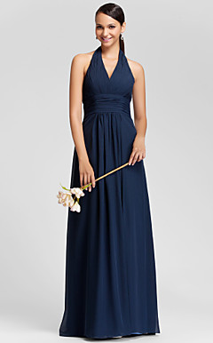 Sheath/Column Halter Floor-length Chiffon Bridesmaid Dress