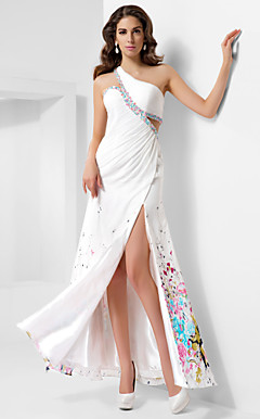 A-line One Shoulder Floor-length Satin Chiffon Evening Dress
