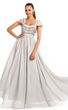 A-line/Princess Square Floor-Length Chiffon Evening Dress