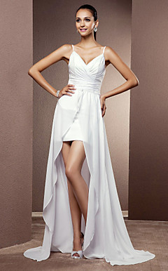 Sheath/Column Spaghetti Straps Short/Mini Chiffon Wedding Dress With Removable Train