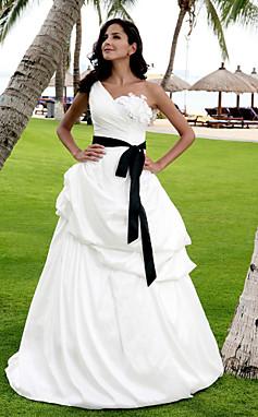 الجملة الجملة فستان الزفاف الطابق خط طول التفتا ثوب الزفاف الكتف واحد مع وشاح