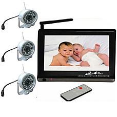 venta al por mayor bebé supervisar conjunto (7 pulgadas, visor de + 3 cámaras inalámbricas de visión nocturna)