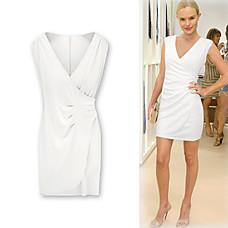 venta al por mayor v vestido escote plisado cintura mangas cortas / inspirados en el estilo de moda ídolo / mujeres vestidos (ff-1802bf035-0853)