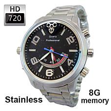 venta al por mayor 8g 720p HD a prueba de agua cámaras espía activadas por movimiento Reloj de acero de la cubierta, la cámara oculta (tra612)