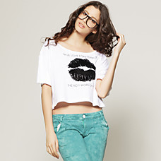 venta al por mayor acuden labios rojos manga corta camiseta suelta / mujeres t-shirts (ss-d-bc1251001)