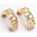 Yellow Gold Simulated Diamond Hoop Earrings (ME003) (Start From 24 Units)-Free Shipping