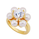 Yellow Gold Cultured Brilliant Pearl and Cubic Zircon Ring (GG1225) (Start From 3 Units)