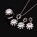 White Gold Cubic Zircon Ring Pendant + Earring Set (GG1214) (Start From 6 Units)