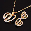 Double Heart Cubic Zircon Yellow Gold Earring + Pendant Set (SYX-0140)