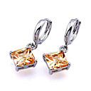 White Gold Square Cubic Zircon Drop Earring (ERS002-Yellow) (Start From 3 Units)