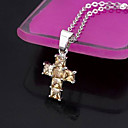 Cubic Zirconia Cross Pendant with Chain / Orange (MH1422) (Start From 3 Units)