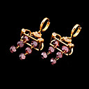 Stylish Totebag Shape CZ Loop Earring - Cubic Zirconia Earring 71126 - 03 Pink (SZY683)