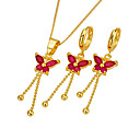 18K Gold Ruby Dragonfly CZ Necklace and Earring Set-CZ Jewelry Set 90224-14 (SZY1484)
