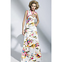 Sheath / Column V-neck Floor-length Printed Art Silk Dress On Sale / Evening Dress (OFGC0212)