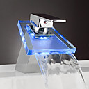 Single Lever Chrome Waterfall LED Bathroom Sink Faucet (0599-QH0802F)