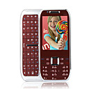 E75 Style Dual Card Tri Band Flashlight QWERTY Keypad Metal Cover Slide Cell Phone Silver and Red (2GB TF Card)