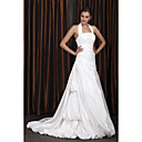 A-line/Princess Halter Chapel Train Taffeta Wedding Dress With Beaded Appliques
