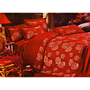 6-pc Luxury Red Jacquard Cotton Full Size Duvet Cover Set - Free Shipping (0586-FZ001)